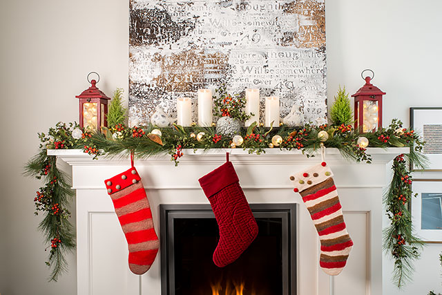 Fireplace, hearth, Christmas stockings.