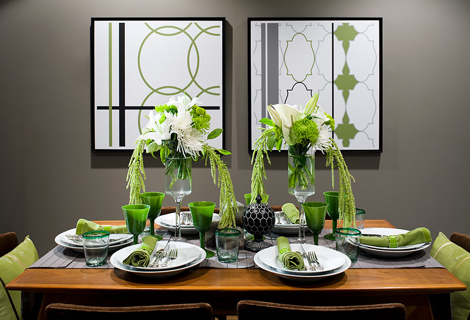 green accessories on a dining table
