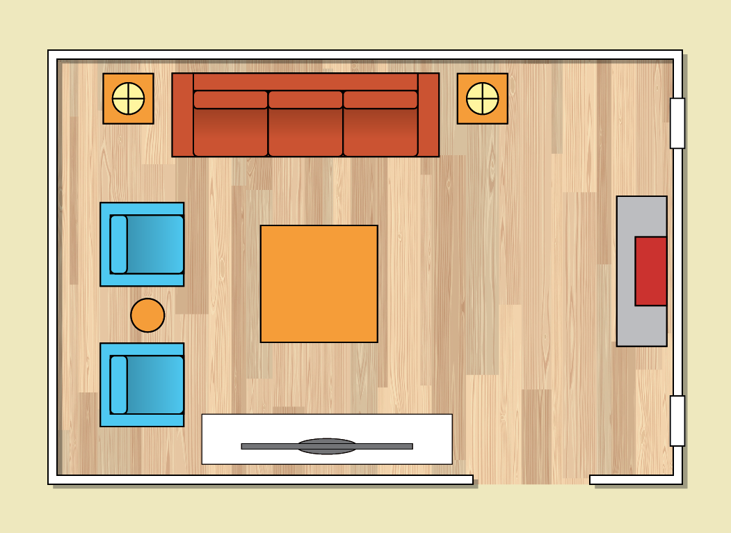 Seating plan for family room