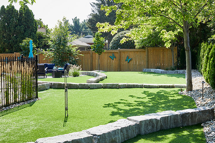 Luxury dog park in backyard.