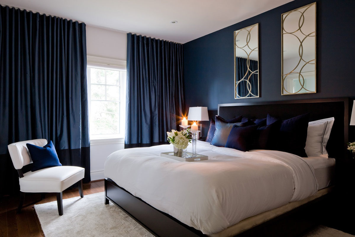 Deep blue bedroom walls