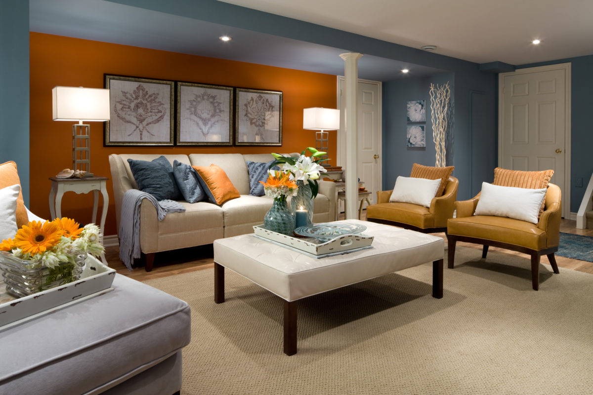 Orange and Blue accent walls