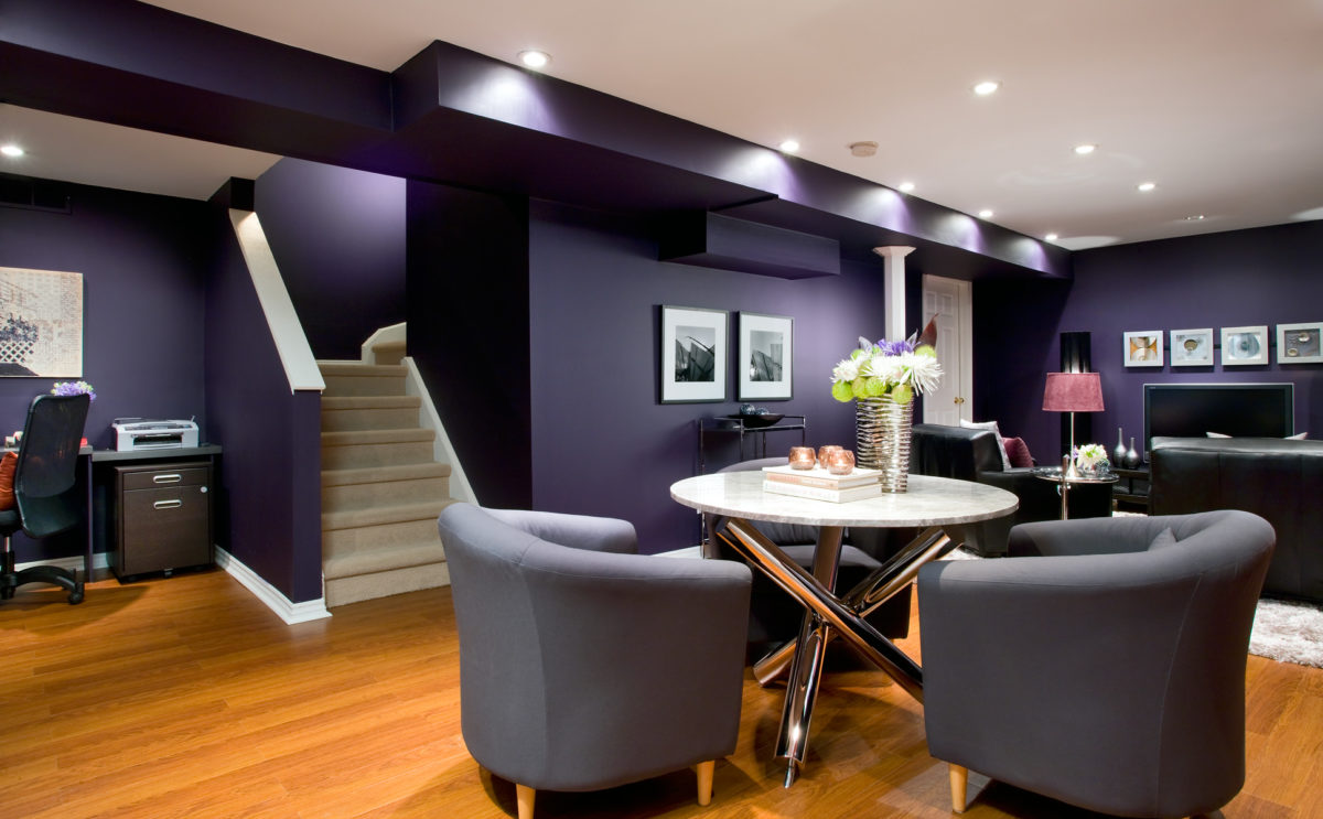 Deep purple basement walls