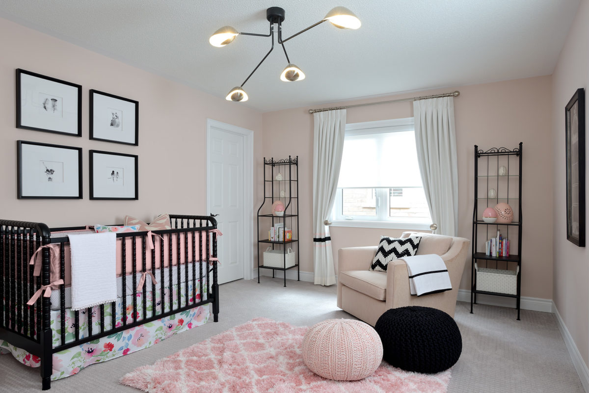pink and black baby room