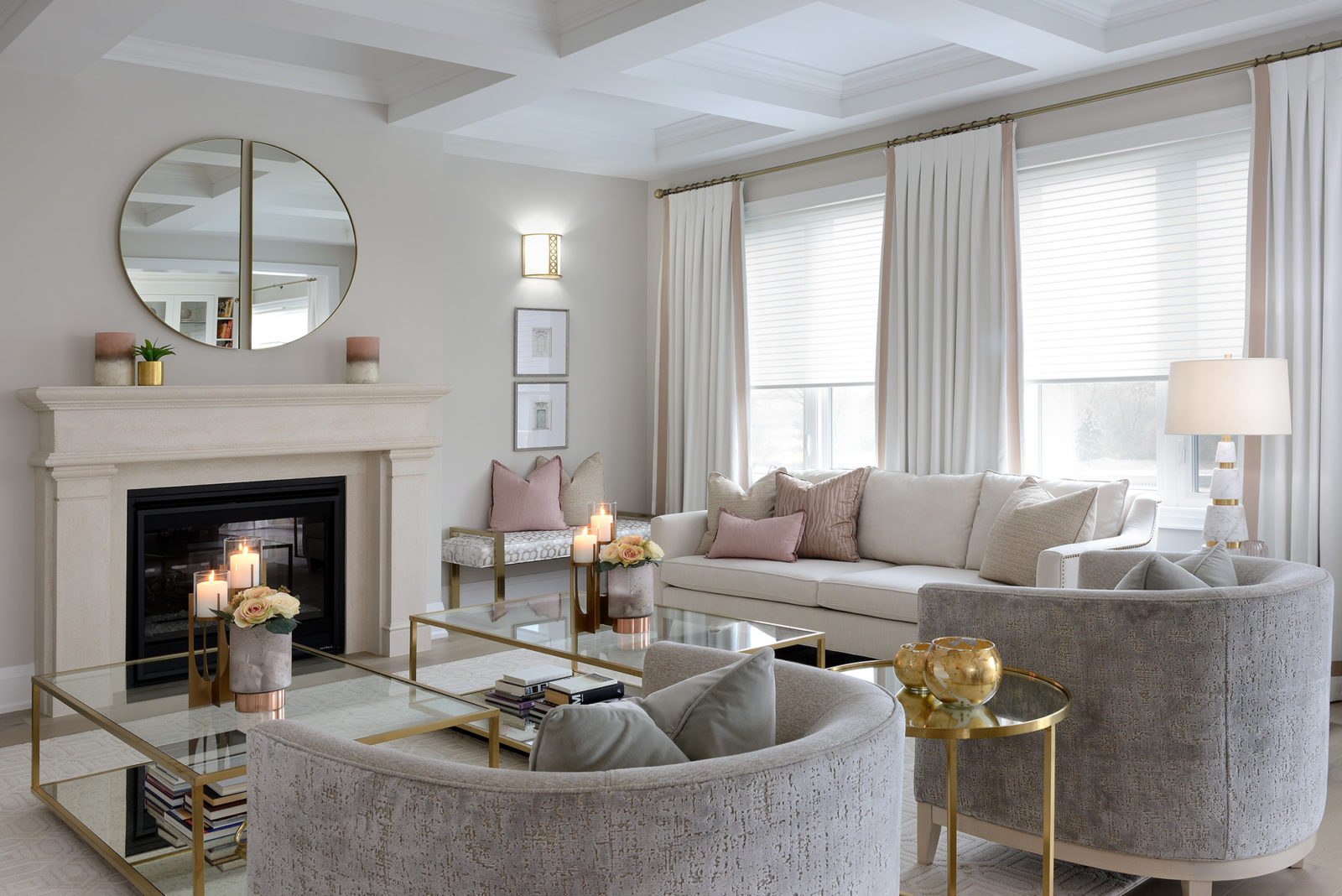 Gold metallic accents in living room