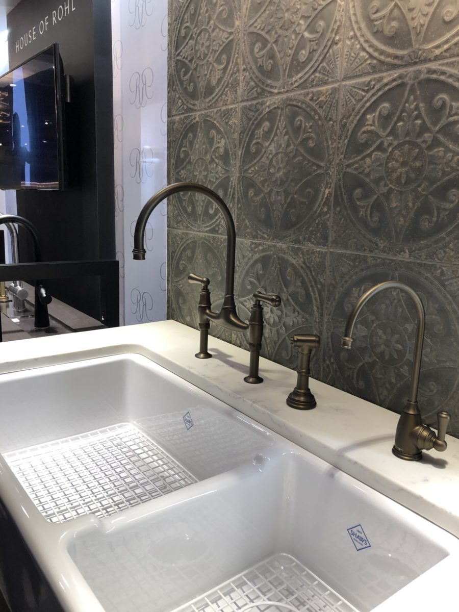 Shaws double porcelain sink with Georgian English Bronze Faucet ROHL