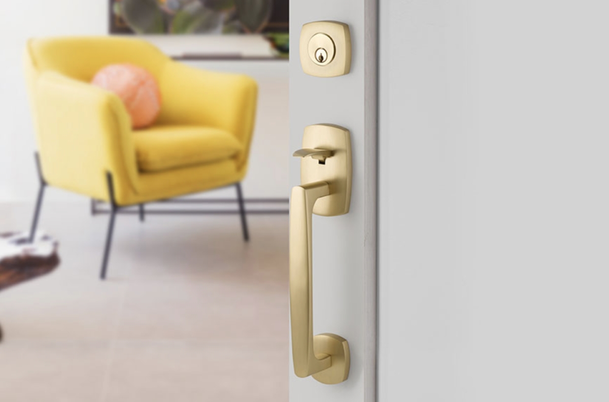 Matte gold door handle