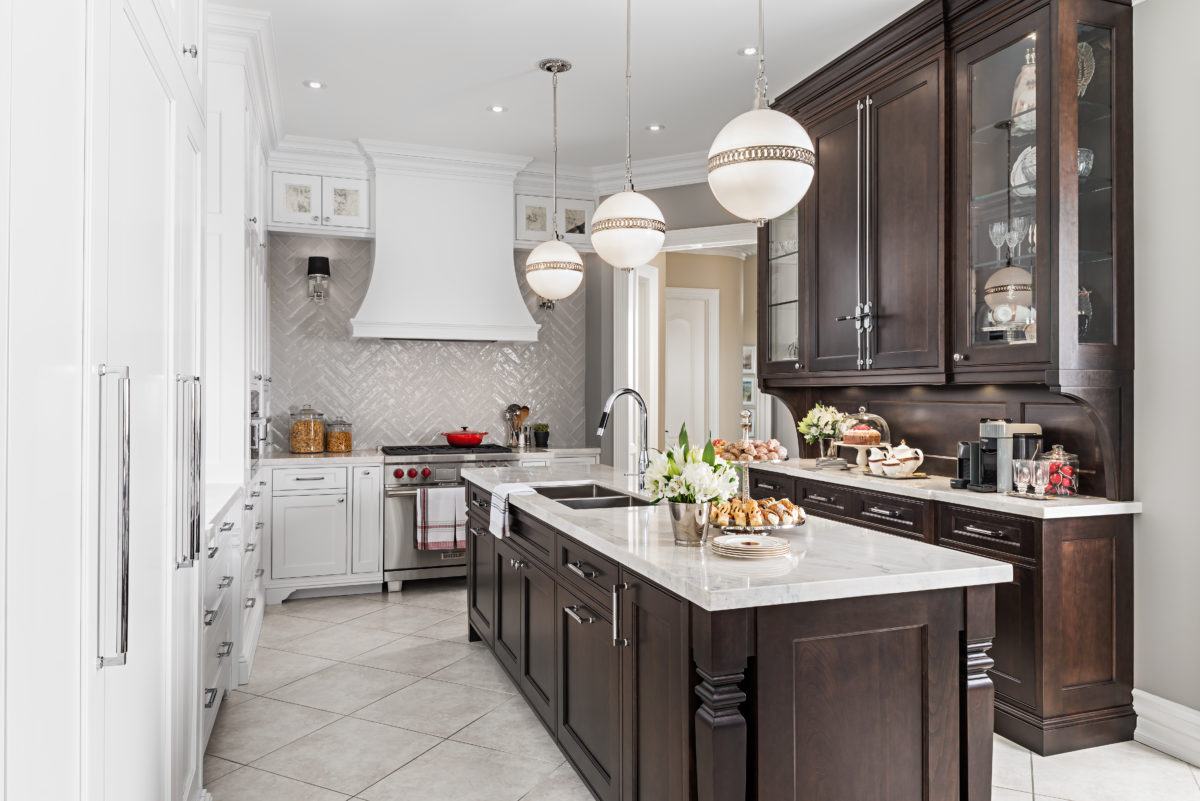 Contemporary kitchen with traditional style