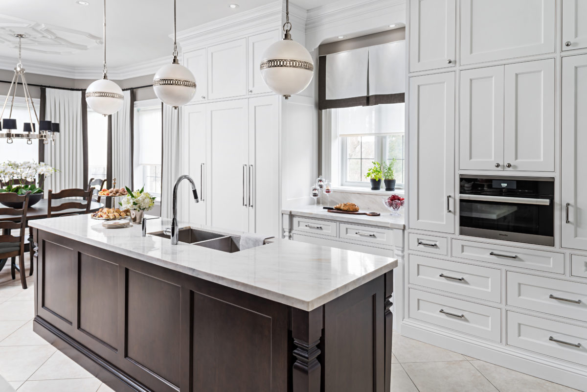 Contemporary kitchen with formal eat-in dining