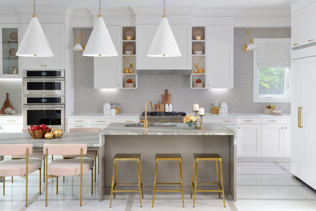 Sorbara Gold and pink kitchen straight on