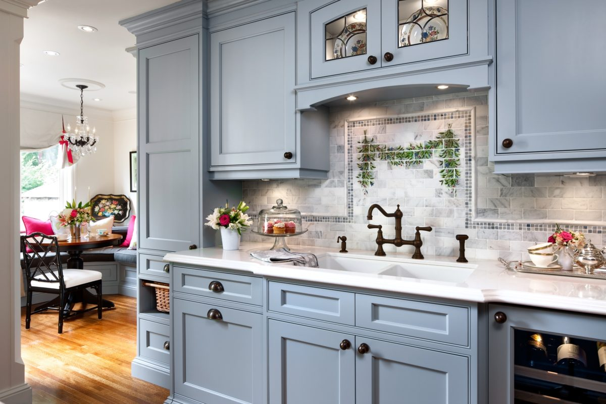 Blue new traditional kitchen