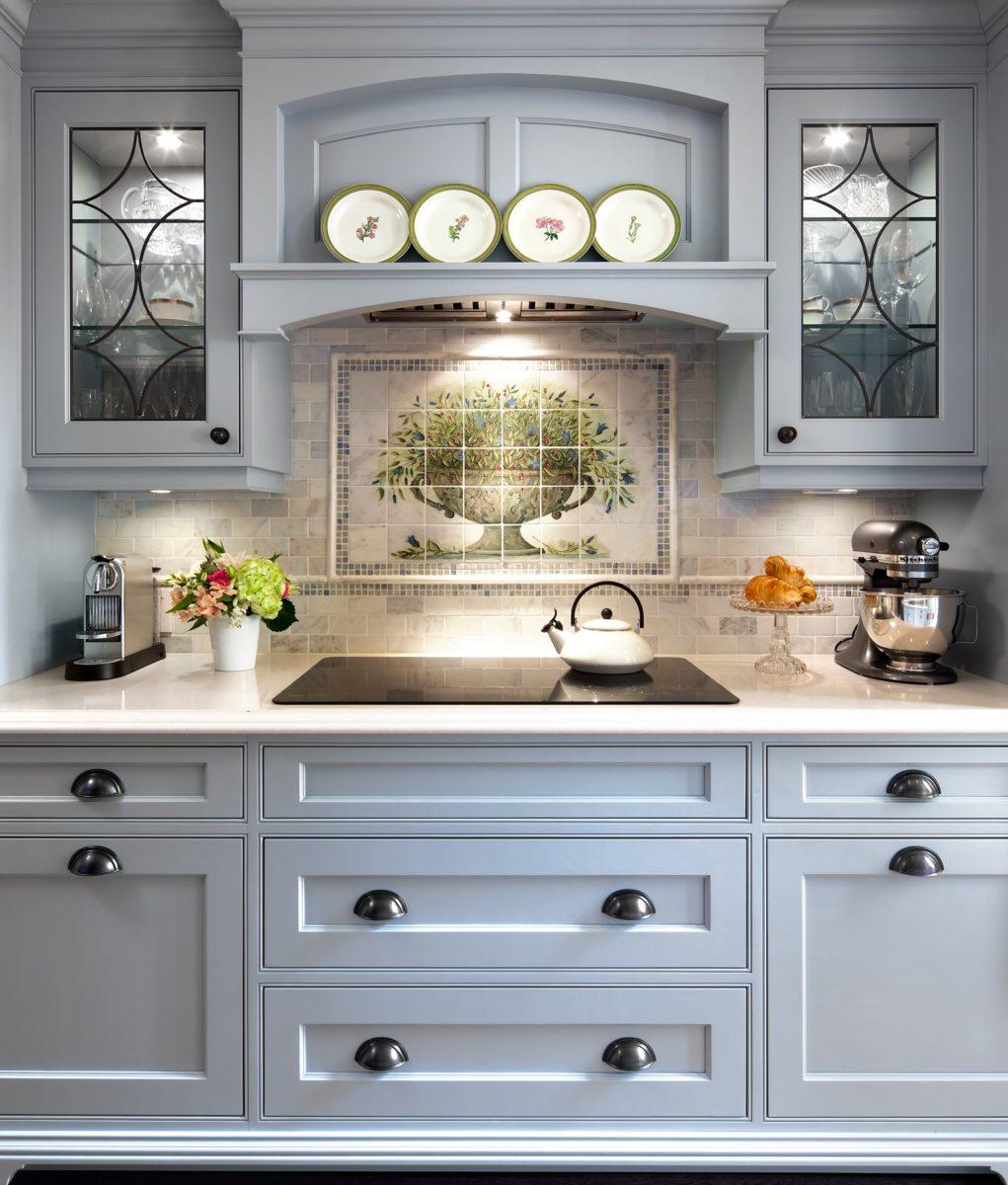 Blue kitchen cooktop vignette