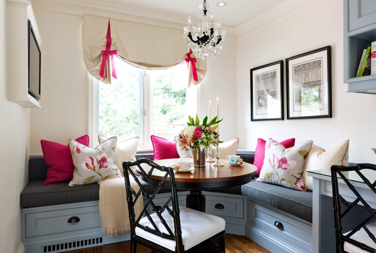 Corner Banquette with feminine flair