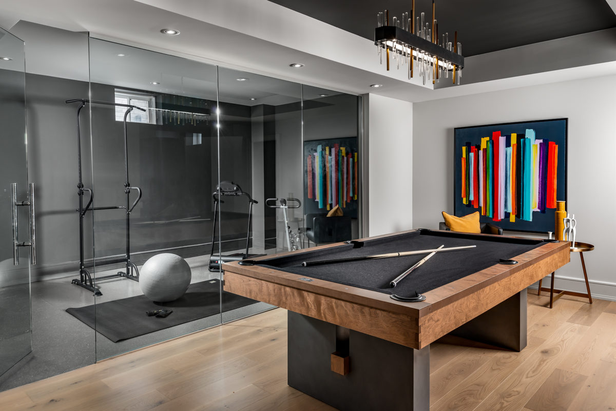 Basement fitness room and pool table