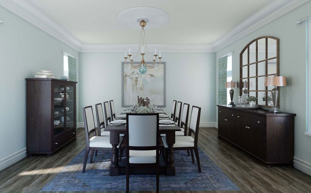 3D Rendering Of Spacious Dining Room.