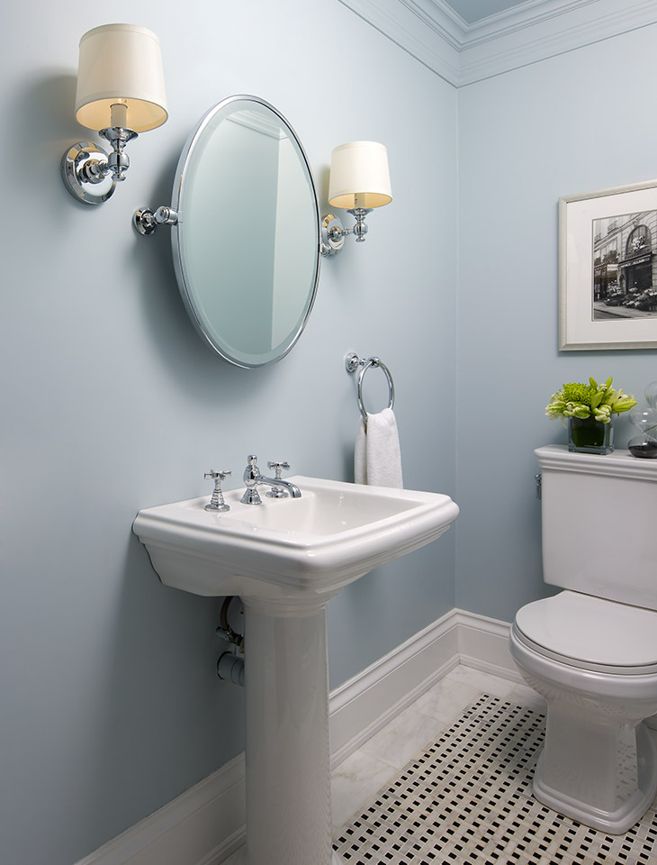 Modern Powder Room With White Tongue And Grove Paneling