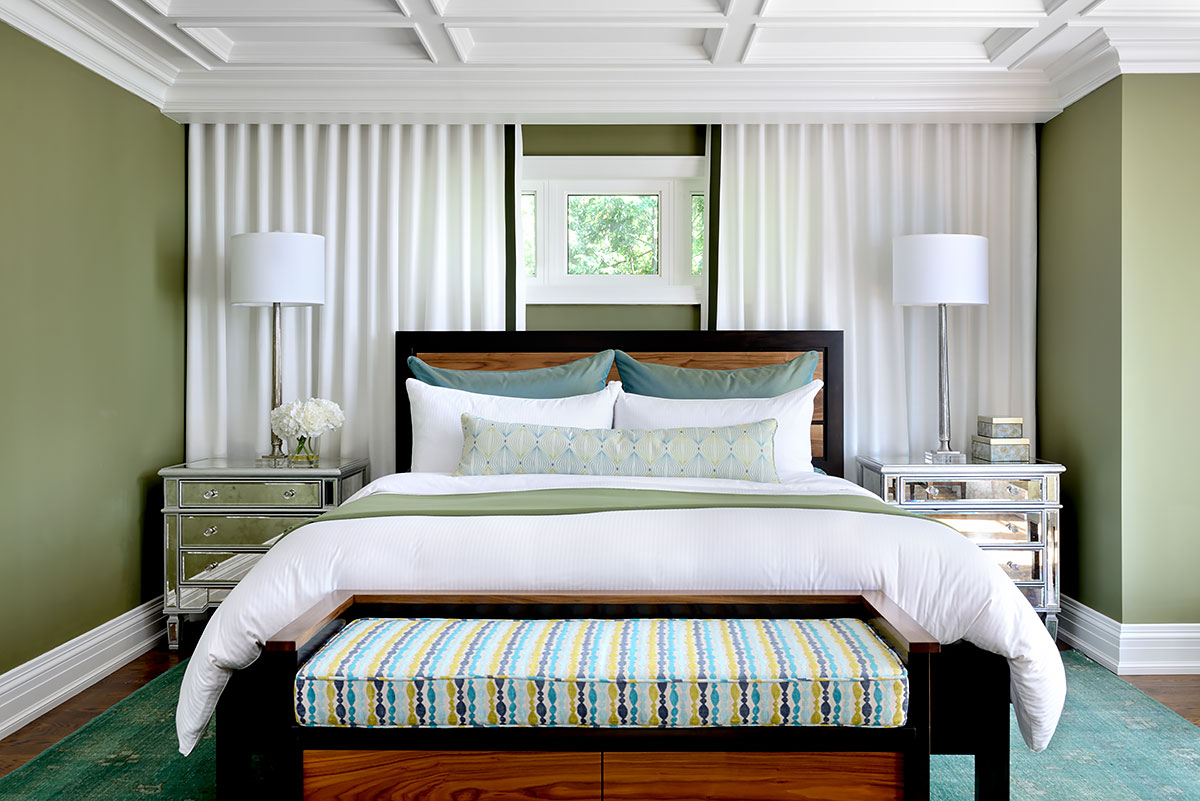 The Master Bed Fills The Space Under The Gables On The Top Floor. Drapery  Doubles As A Head Board Making The Bed The Focal Point In The Space.